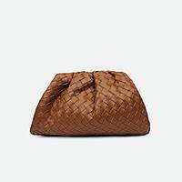 Стильна сумка-вареник коричнева маленька шкіряна 88894