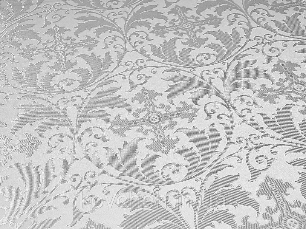 Шовкова церковна тканина Світу біла з сріблом