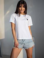 Стильная молодежная футболка белого цвета с вышитым лого Playboy