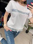 Костюм женский летний: футболка с камнями и кружевом и джинсы (2 цвета), фото 2