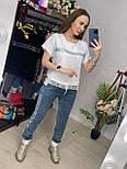 Костюм женский летний: футболка с камнями и кружевом и джинсы (2 цвета), фото 8
