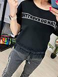 Костюм женский летний: футболка с камнями и кружевом и джинсы (2 цвета), фото 4