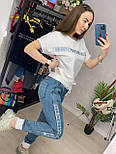 Костюм женский летний: футболка с камнями и кружевом и джинсы (2 цвета), фото 9