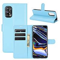 Чехол Fiji Luxury для Realme 7 Pro книжка голубой