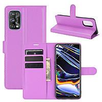 Чехол Fiji Luxury для Realme 7 Pro книжка фиолетовый
