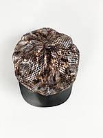 Жіноча кепка-гаврош з вілюра принт змія демісезонна, фото 1