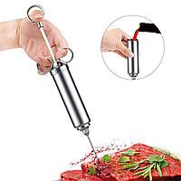 Шприц для мяса Lesko metal кулинарный столовый для работы с мясными продуктами инъектор металлический
