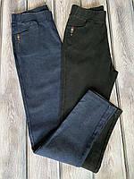 Джинсовые летние джеггинсы большого размера, на полных, , ткань джинс, р. 52,54,56 черные