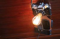 Світильник з фотоапарата Зеніт СРСР. Світильник з лампою Едісона., фото 1