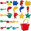 Великий пісочний набір - Jiahe Plastic, 22 шт, сітка, різнокольоровий, пластик (JH001), фото 2