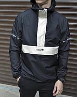 Черный мужской анорак Adidas   Ветровка Adidas мужская