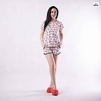 Річна жіноча піжама футболка з шортами бавовняна р. 42-54, фото 1