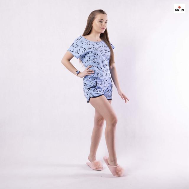Річна жіноча піжама футболка з шортами бавовняна