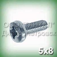 Гвинт М5х8 нержавіючий DIN 7985, ISO 7045 (ГОСТ 17473-80) з циліндричною головкою округленій