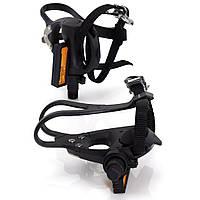 Педали контактные XLC PD-R01, 392 гр, черные, с ремешками и тулипсами (AS)
