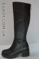 Сапоги зимние на невысоком каблуке из натуральной кожи