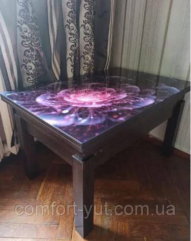 Стол трансформер Флай венге магия со стеклом 16_256, журнальный обеденный