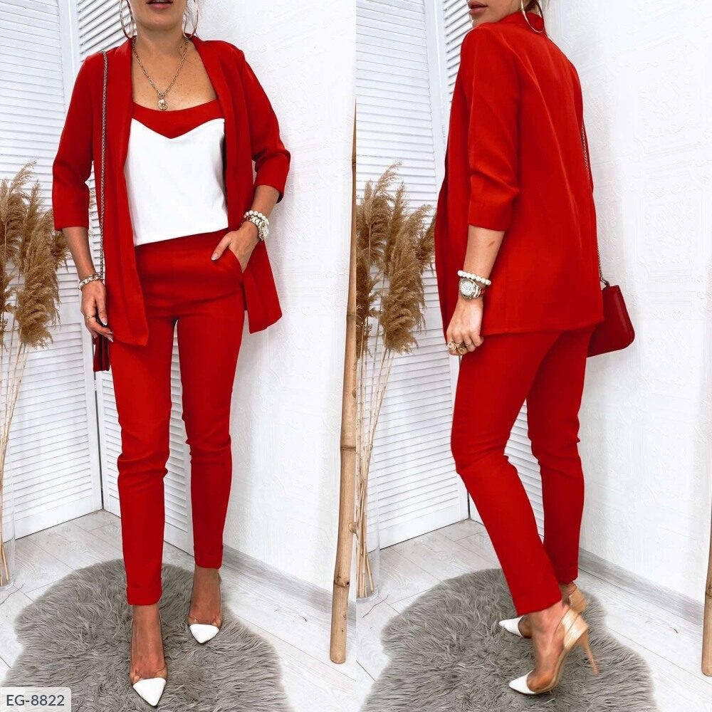 Костюм женский деловой брючный тройка брюки, майка, пиджак размеры 42-54 арт 245