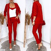 Костюм жіночий діловий брючний трійка штани, майка, піджак розміри 42-54 арт 245