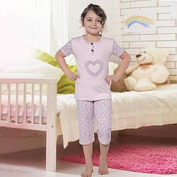 Пижама детская для девочки с бриджами демисезонная Турция от 4 до 13 лет, костюм для дома 75030