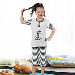 Пижама детская для девочки с бриджами демисезонная Турция от 4 до 13 лет, костюм для дома 75034