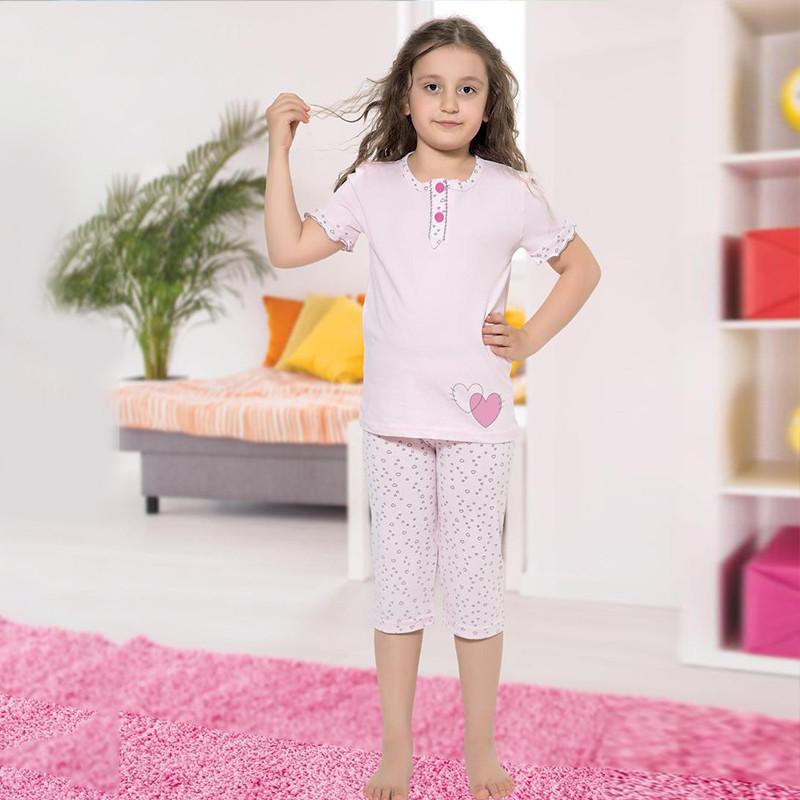 Піжама дитяча для дівчинки з бриджами демісезонна, Туреччина від 4 до 13 років, костюм для будинку 75038