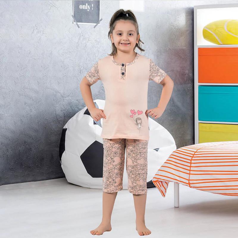 Пижама детская для девочки с бриджами демисезонная Турция от 4 до 13 лет, костюм для дома 75041