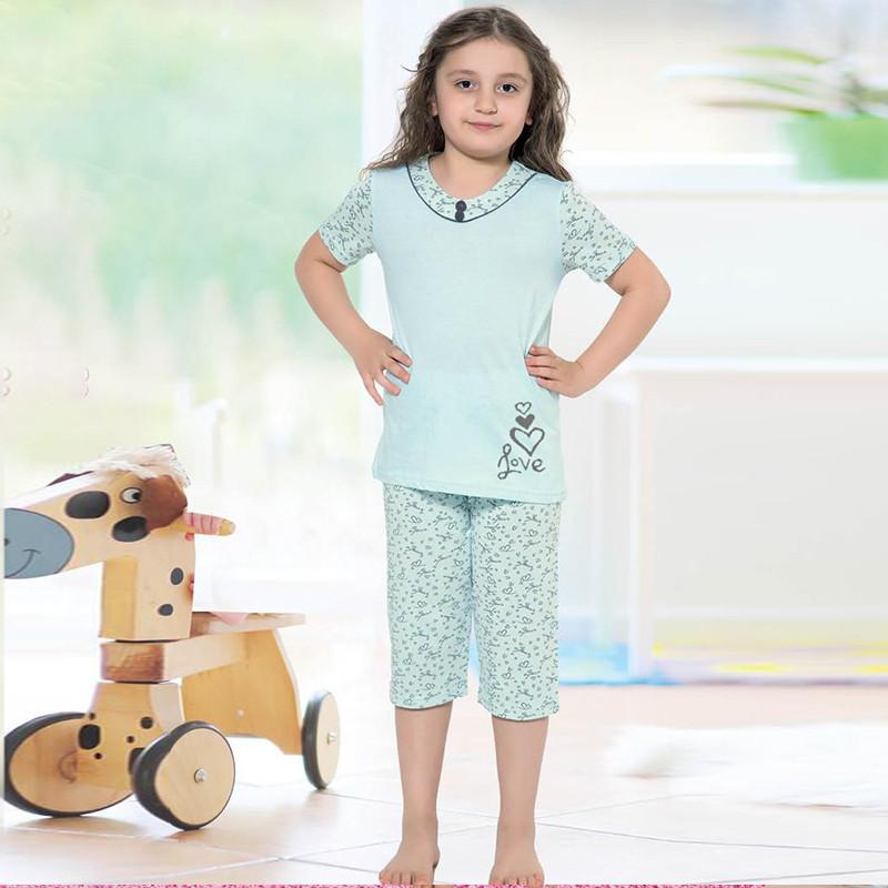 Пижама детская для девочки с бриджами демисезонная Турция от 4 до 13 лет, костюм для дома 75046