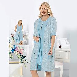 Одежда для сна S-M-L-XL женская хлопковая пеньюар с халатом с птичками Seyko