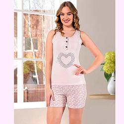 Пижама женская S-M/L-XL хлопковая майка с шортиками сердце Seyko