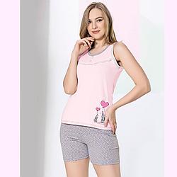 """Пижама женская S/M-L/XL хлопковая майка с шортиками """"слоники"""" Seyko"""