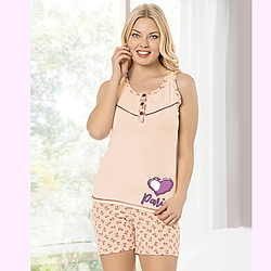 Пижама женская S/M-L/XL хлопковая майка с шортиками персик Seyko