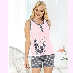 """Пижама женская S/M-L/XL хлопковая майка с шортиками """"пандочка"""" Seyko"""