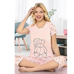 """Пижама женская S-M-L-XL хлопковая демисезонная """"Мишка в пижамке"""" Seyko S"""