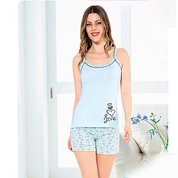Пижама женская S-M/L-XL хлопковая с шортами демисезонная Seyko S-M