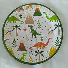 Набір паперових тарілок принт Динозаври Dino 18см 5шт.