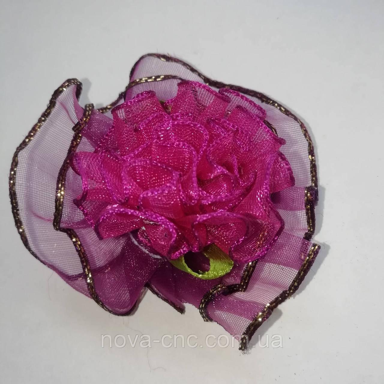 Квіти з органзи для декору Колір бордовий 50 мм 10 шт