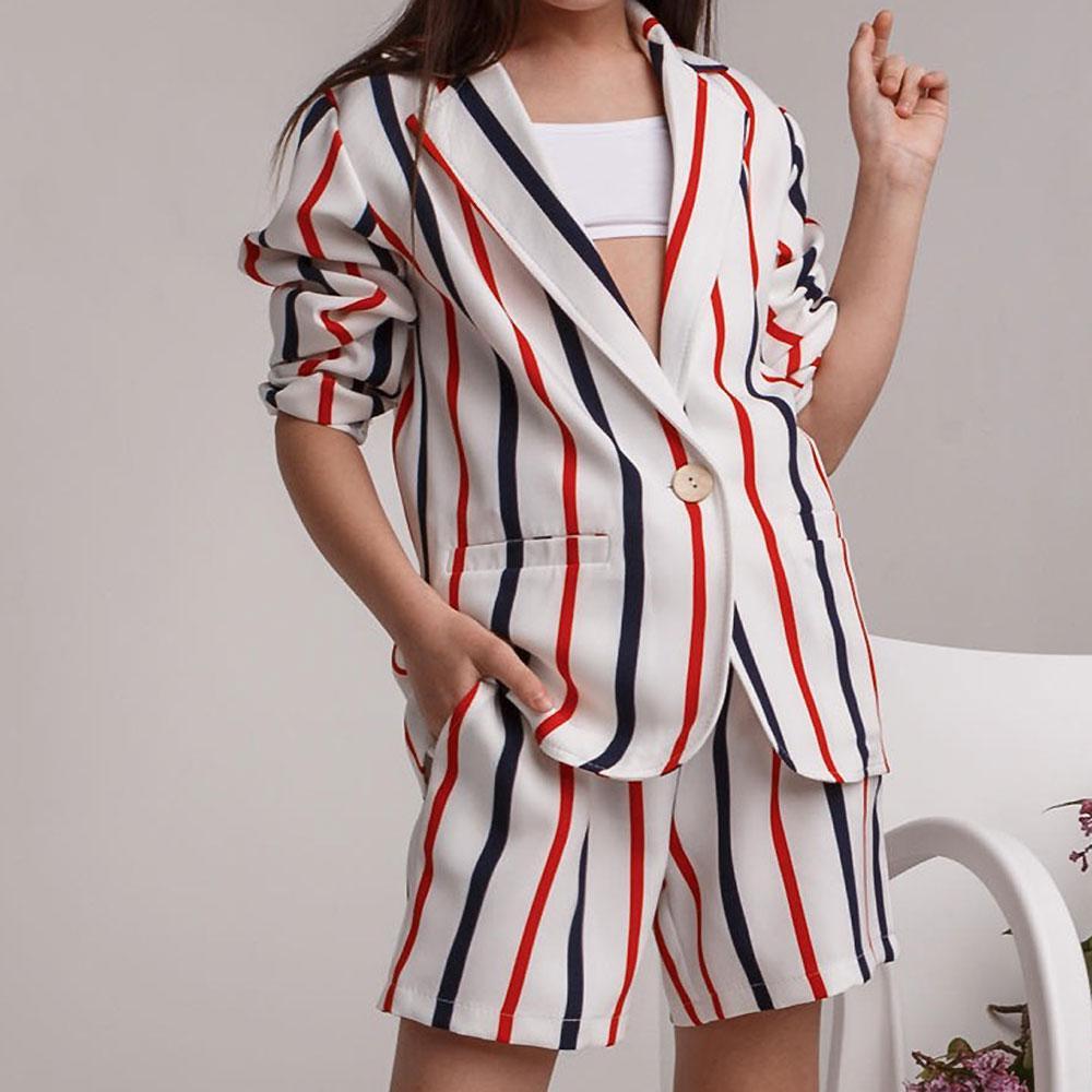 Костюм (жакет, шорты) для девочек Kidsmod 134  бело-красный 981403