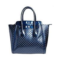 Брендовая женская сумка из натуральной кожи синяя