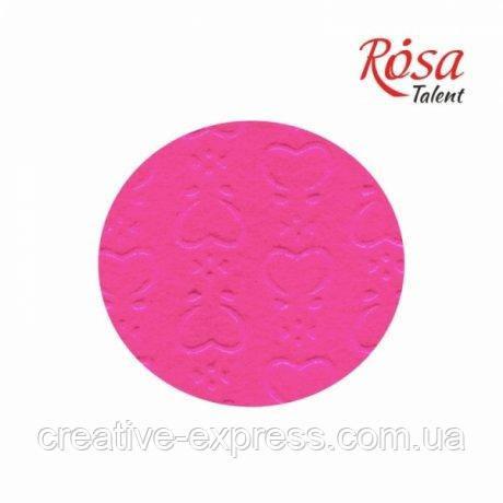 Фетр листковий (поліестер), 21,5х28 см, принт, Серця на рожевому, 180г/м2, ROSA Talent