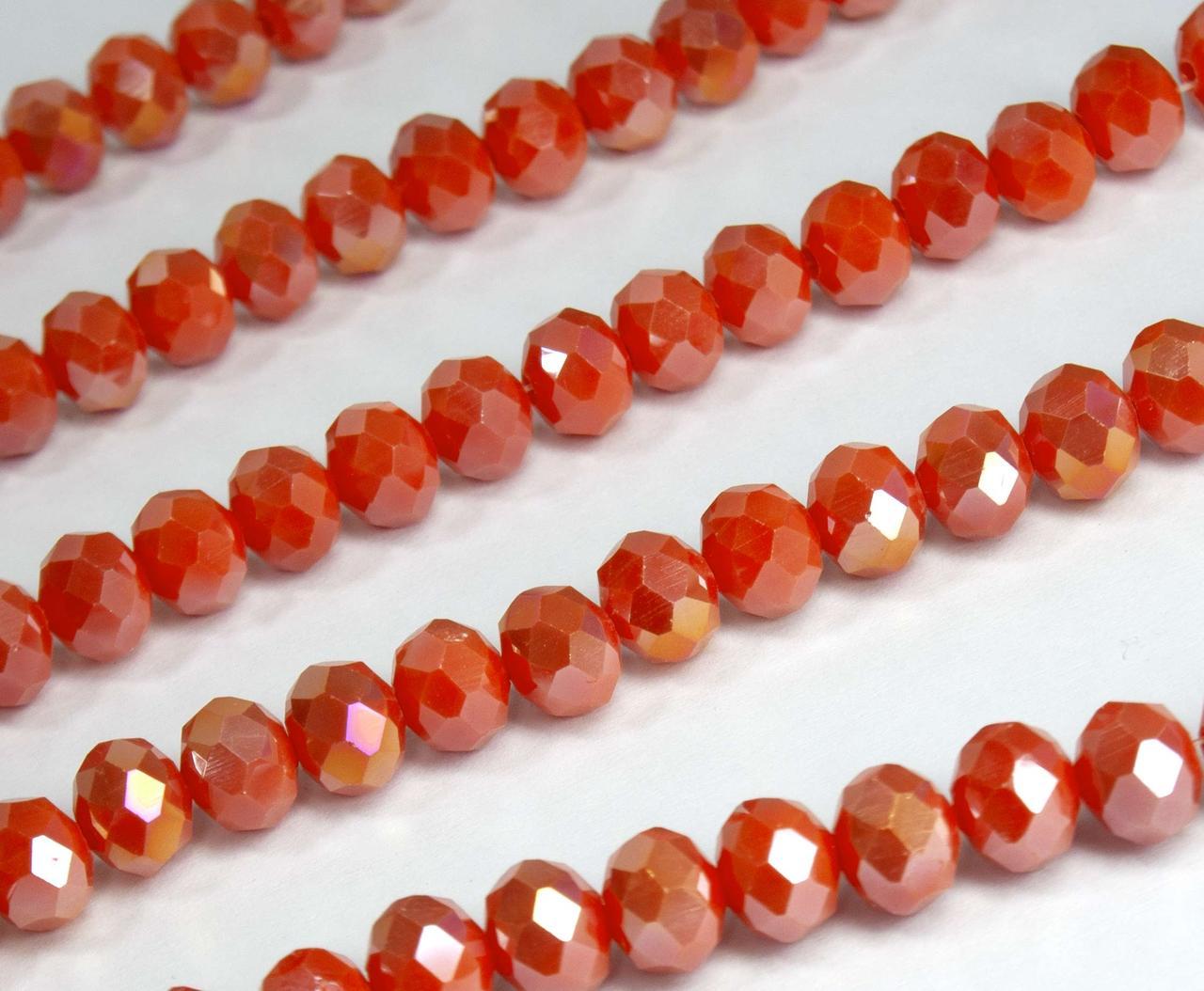 Кришталеві намистини (Рондель) 8х6мм пачка - приблизно 65-70шт, помаранчевий непрозорий з АБ