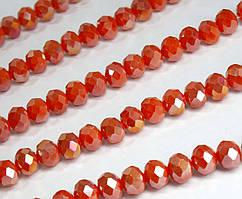 Бусины хрустальные (Рондель) 8х6мм  пачка - примерно 65-70шт, оранжевый непрозрачный с АБ