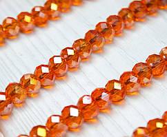 Бусины хрустальные (Рондель) 8х6мм  пачка - примерно 70 шт, цвет - прозрачные оранжевые с АБ