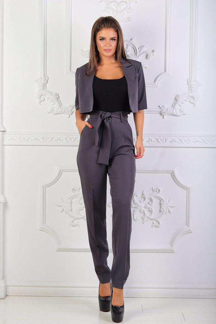 С1826 Женский комплект 2в1: брюки + болеро графит/ серый/ серого цвета
