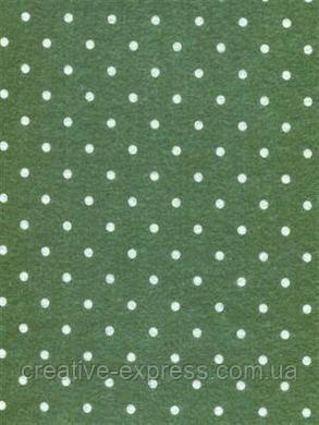 Фетр листковий (поліестер), 21,5х28 см, принт, Крапка на зеленому, 180г/м2, ROSA Talent