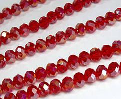 Бусины хрустальные (Рондель) 8х6мм  пачка - примерно 65-70шт, красный прозрачный с АБ