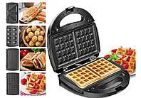Мультимейкер Crownberg CB-1076 4в1 гриль, сендвичница, вафельница, орешница