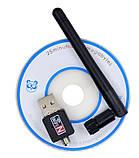 USB WIFI адаптер с съемной антенной T2, 150 Мбит/с, усиленный. Сетевой адаптер, фото 2