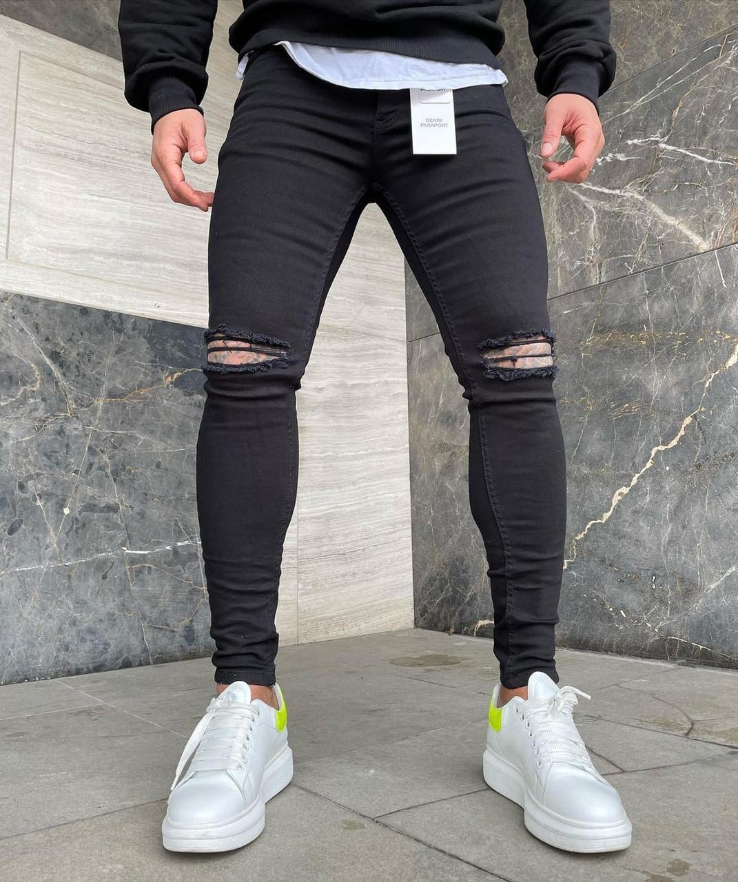 Чоловічі джинси чорні рвані