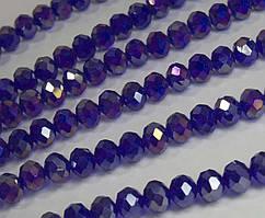 Бусины хрустальные (Рондель) 8х6мм  пачка - примерно 65-70шт, сине-фиолетовый прозрачный с АБ